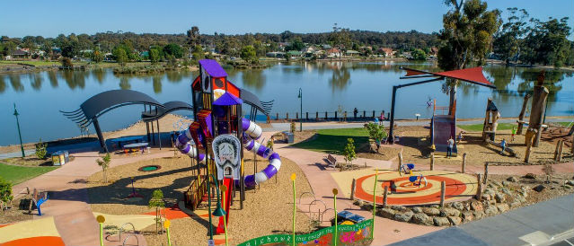 Children's playground on the banks of Lake Neanger