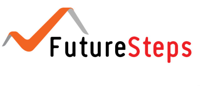FutureSteps logo - words with an orange tick